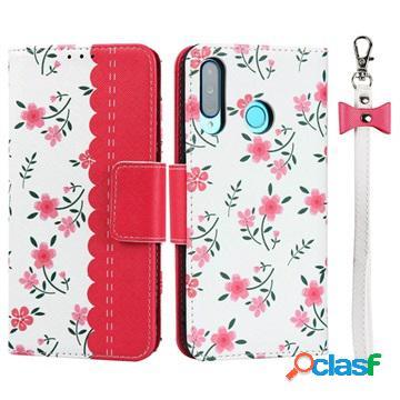 Étui portefeuille huawei p30 lite motif floral - rose vif