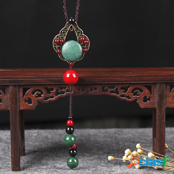 Collier ethnique agate creuse turquoise jade décontracté chemises pull long collier pour les femmes