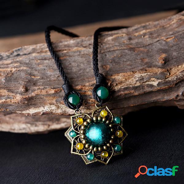 Collier ethnique coloré en agate à pendentif fleur en glaze sautoir vintage bohémien accessoire pull pour elle
