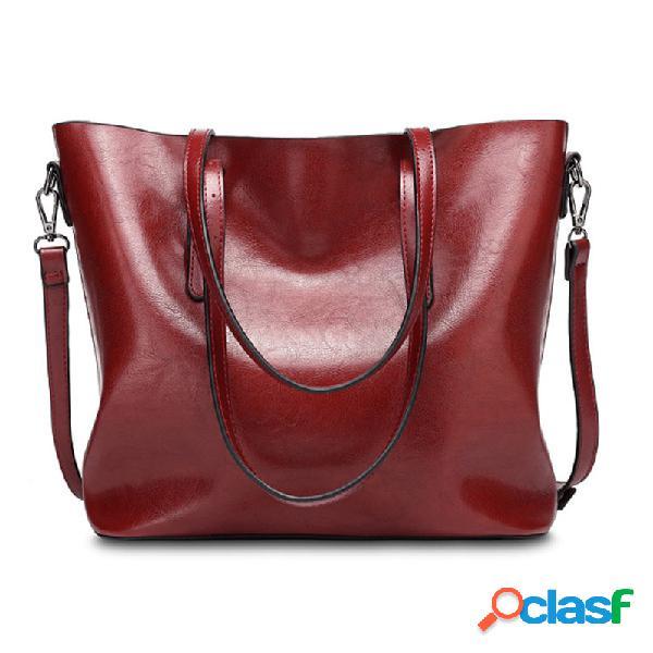 Vintage oil pu leather tote handbag shoulder bag capacity big shopping tote crossbody bags for women