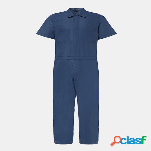 Combinaisons de poches à poitrine double couleur unie pour hommes