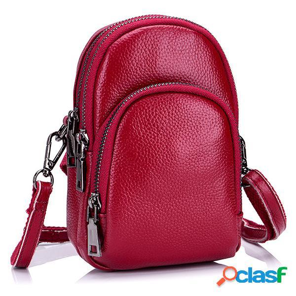Véritable cuir vintage 5.5 pouces téléphone sac là couches sacs à bandoulière sacs à bandoulière pour les femmes