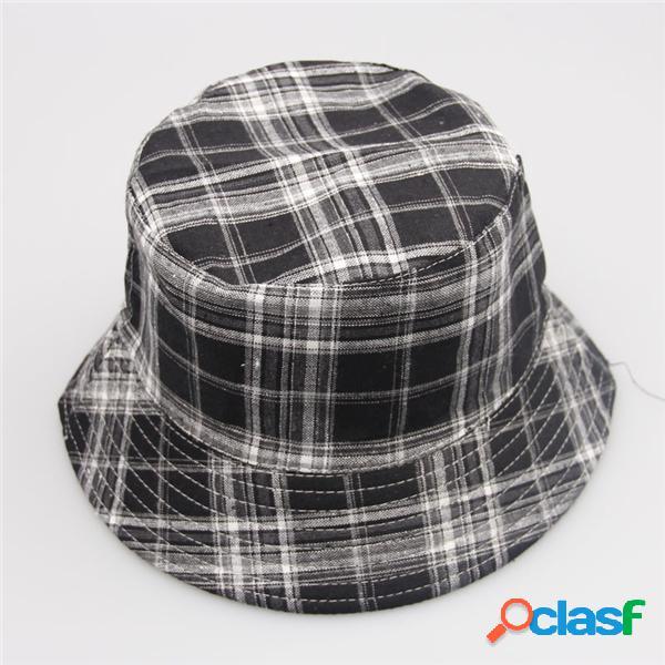 Hommes femmes lady bucket checks boonie plaid chasse pêche en plein air été casquette chapeau