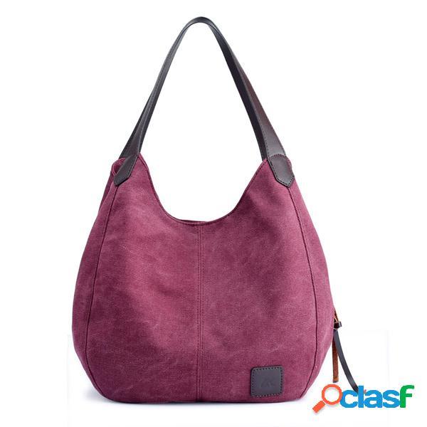 Kvky sac à main femme en toile tote bag trois couche vintage décontracté