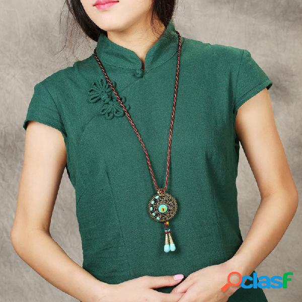 Collier ethnique à pampilles rondes collier en alliage de style long pour femmes