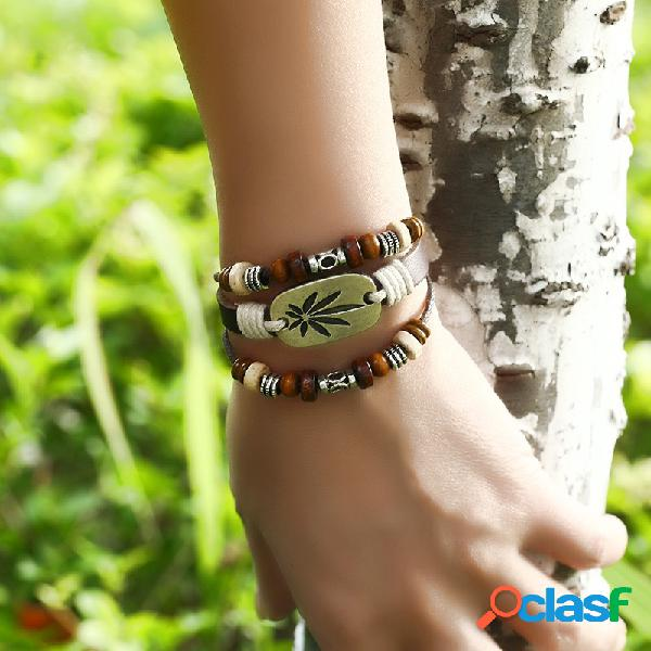 Bracelet vintage en feuille d'érable real bracelet multicouche en cuir pour femmes bracelet homme