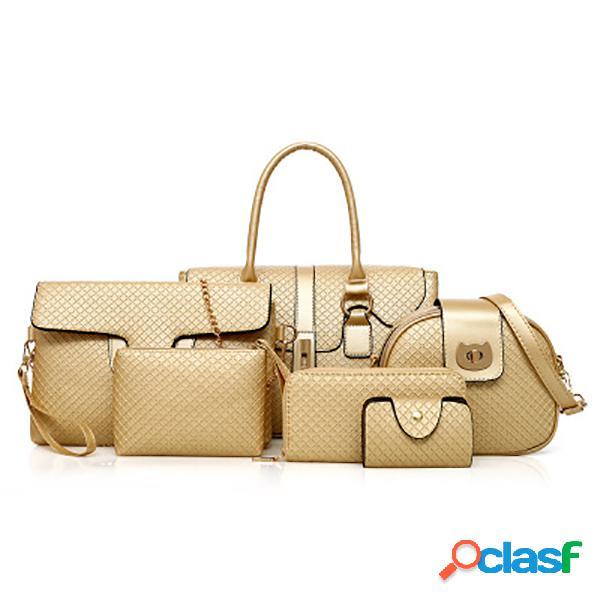6 pcs femmes pu sac à main en cuir vintage loisirs sac bandoulière sac à bandoulière solide