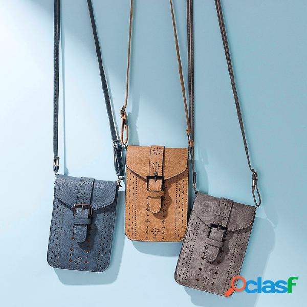 Femmes vintage leisure phone bag solid hollow crossbody bag