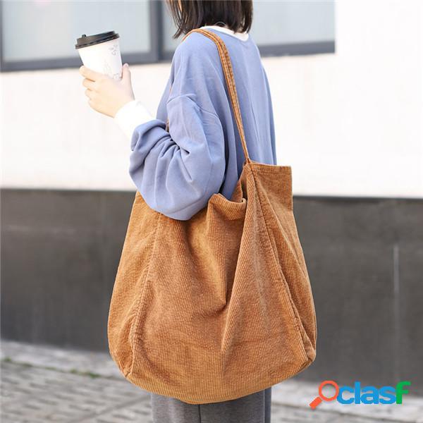 Sac à main vintage en velours côtelé sac à provisions grande capacité