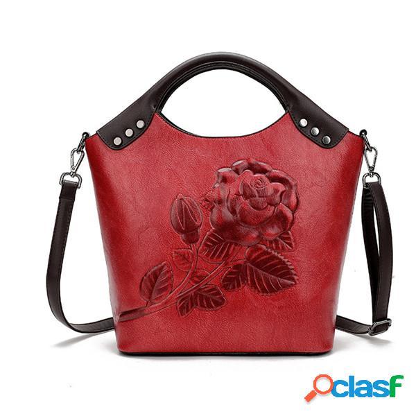 Femmes gaufrage sac à main vintage en cuir pu solide sac à bandoulière décontracté