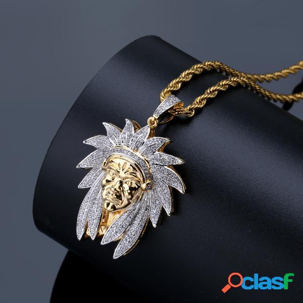 Collier de chef indien rétro collier bicolore zircon incrusté d'or collier homme strass or