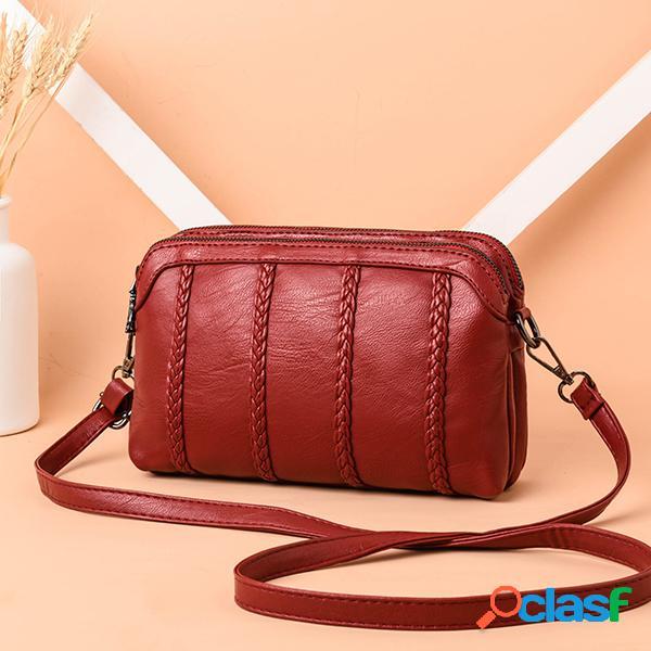 Femmes vintage soft sac à bandoulière en cuir pu sac à bandoulière solide à double couche