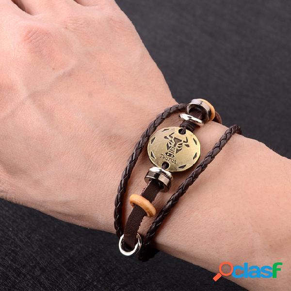 Bracelet vintage douze constellation perles pendentif tressé à la main corde punk bijoux