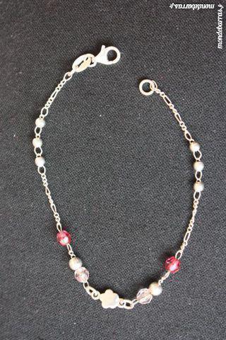 Bracelet argent et perles roses occasion, le havre (76600)