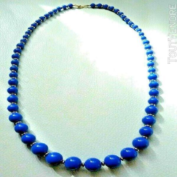 Collier bleu doré vintage neuf blue & doré necklace