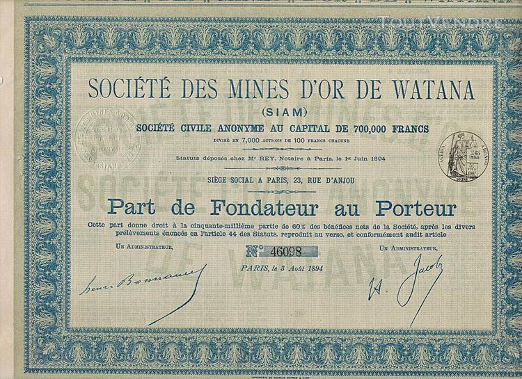 Indochine / lot: 10 x societe des mines d'or de watana 1894