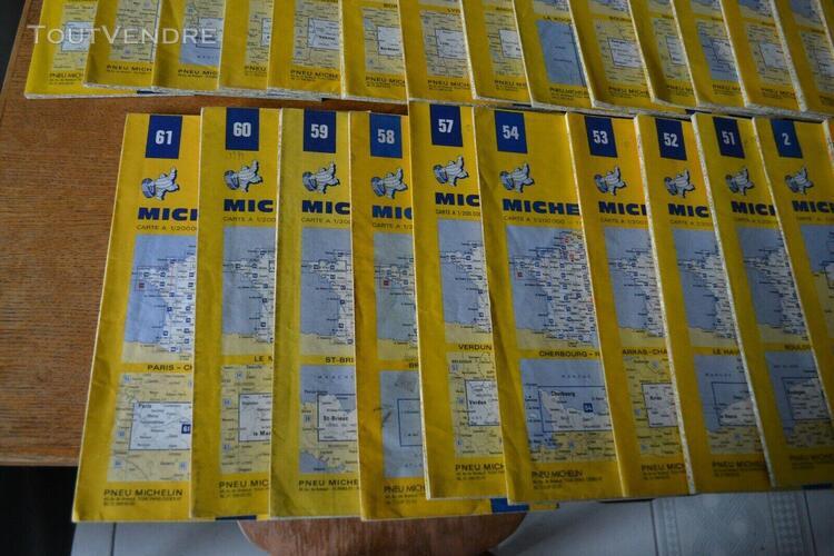 Lot de 27 cartes michelin anciennes, années 1970, route,