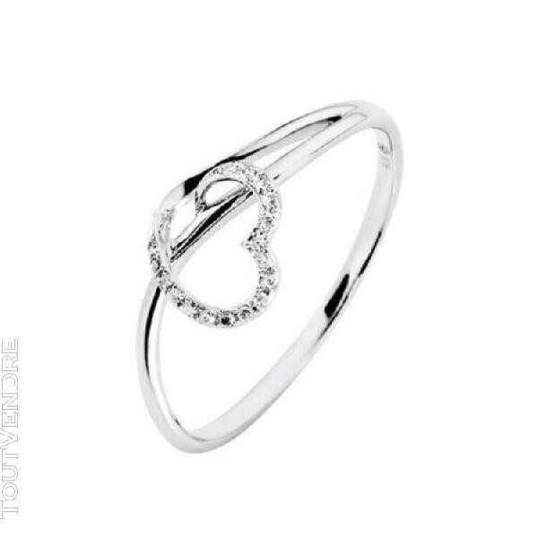 Bague or blanc diamants coeur ajoure t. 54 fiancailles maria