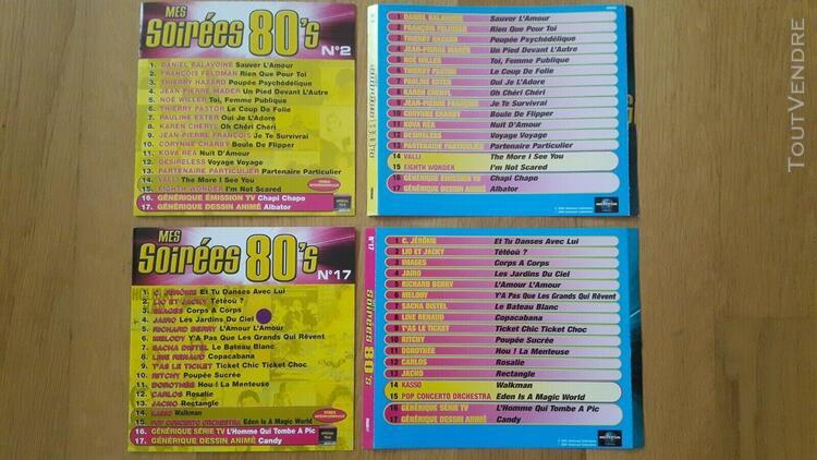Lot 2 jaquettes originales cd mes soirees 80 vol2 et vol17 d
