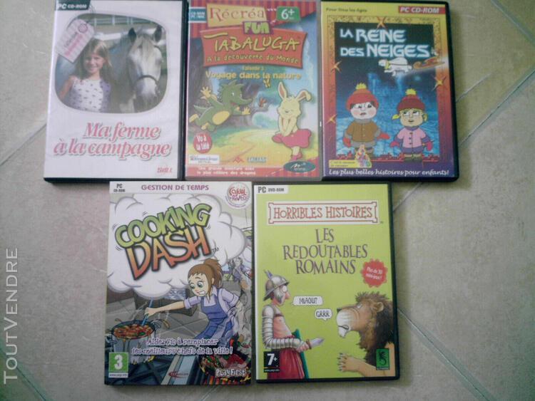 Lot 5 jeux pc cd rom ordinateur jeux enfants reine des ne