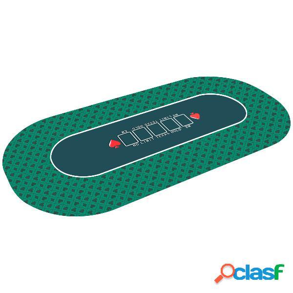Costway tapis de jeu de carte pliante en caoutchouc 180 x 90 cm 10 places surface doux et lisse vert