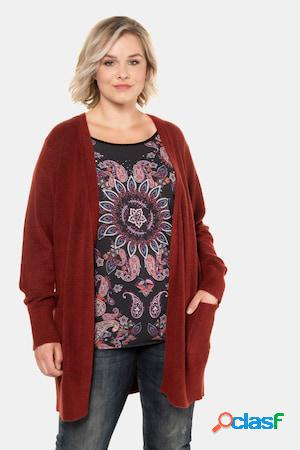 Gilet long, maille fine, coupe ouverte, manches longues - grande taille