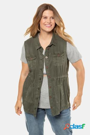 Gilet en lyocell, sans manches, coulisse, 4 poches - grande taille
