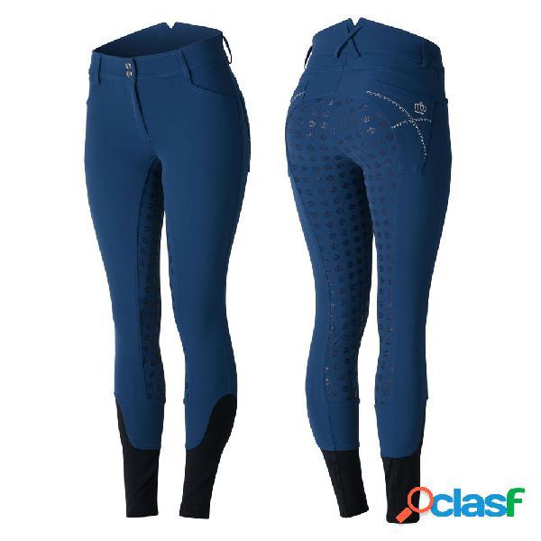Pantalon d'équitation fond intégral silicone, avec cristaux, femme