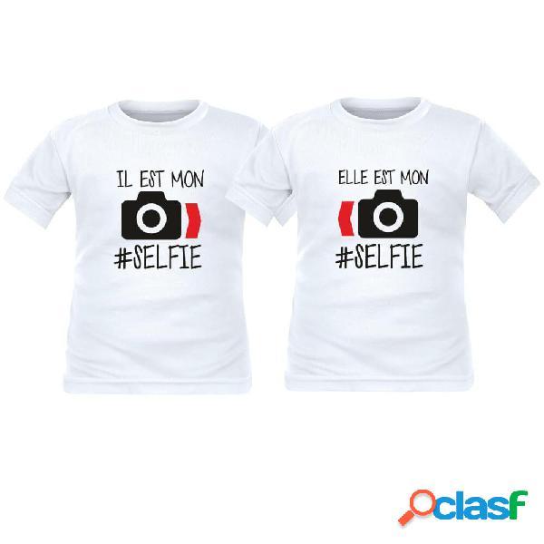 2 tee shirts enfant jumeaux personnalisés: il/elle est mon #selfie