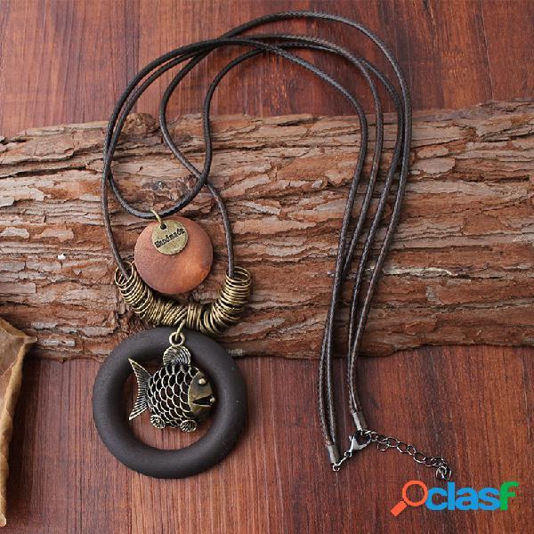 Colliers pendentif en bois géométrique ethnique vintage poisson deux couches colliers de corde de cire pour les femmes