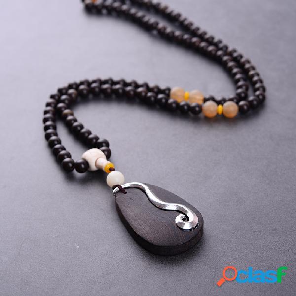Mode ethnique international bijoux bois perlé collier vintage bois charm colliers pour femmes