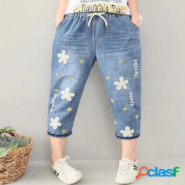 Jeans décontractés à la taille avec cordon de serrage et broderie de fleurs pour les femmes