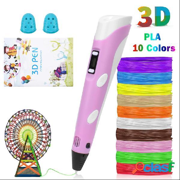 Stylo 3d led écran bricolage créatif stylo d'impression 3d avec usb 100 m abs filament cadeau créatif jouet pour enfants dessin de conception