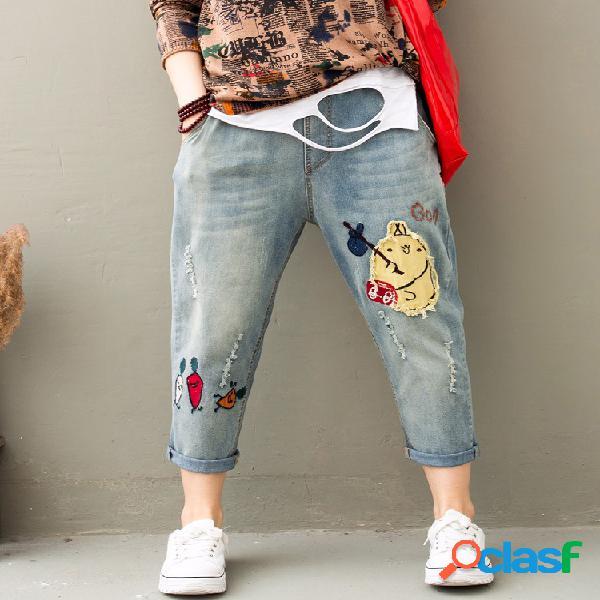 Jeans brodés à la taille avec cordon de serrage pour femmes
