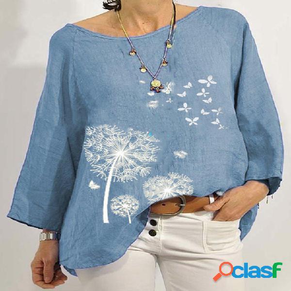 T-shirt à manches longues à col rond et imprimé papillon vintage calico