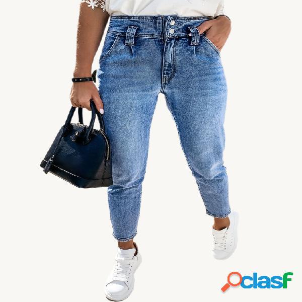 Jeans décontractés en denim taille haute élastique de couleur unie pour les femmes