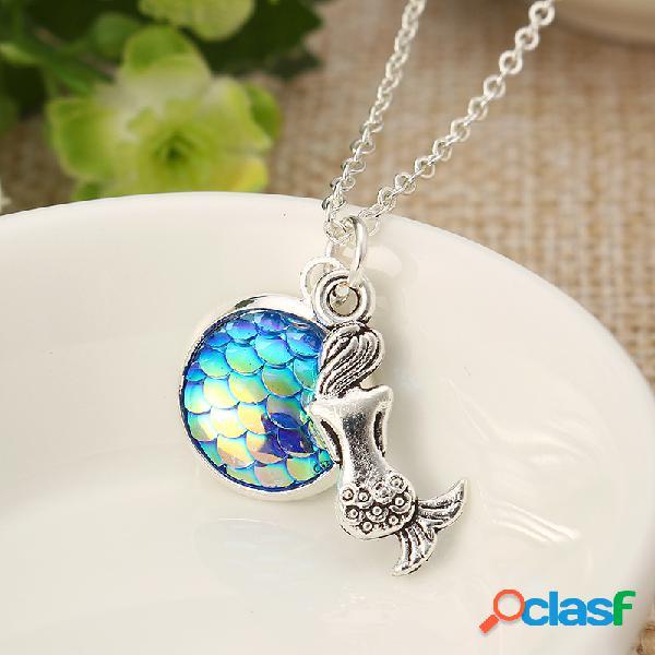 Collier tendence à pierre précieuse colorées collier argent pendentif en résine effet écaille sirène pour fille et femme
