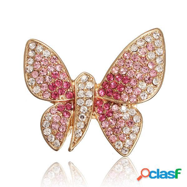 Broche papillon en alliage strass