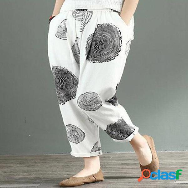 Taille élastique à imprimé décontracté plus pantalon femme taille