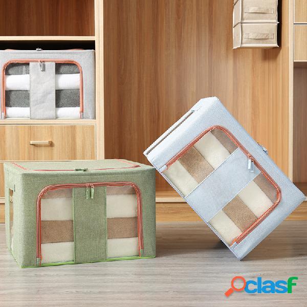 Coton et lin double fenêtre verticale en tissu boîte de finition à quatre cadres en acier boîte de rangement pliante surdimensionnée
