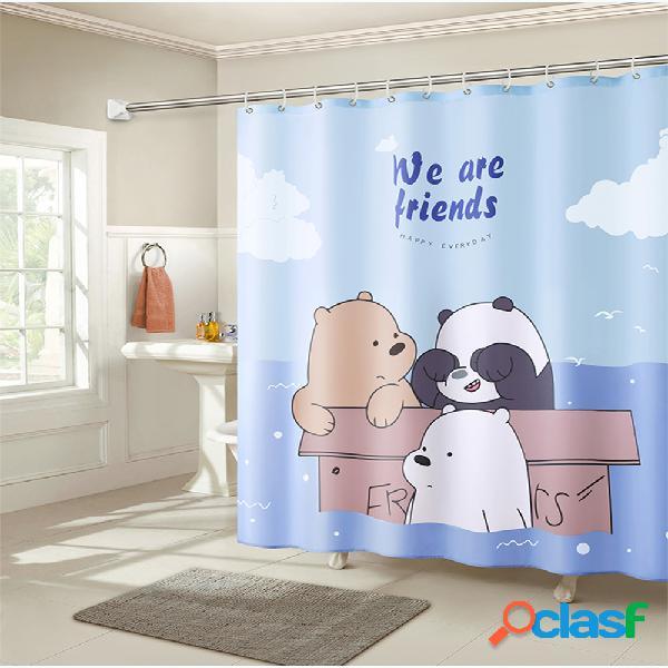 Tissu imperméable de polyester de rideau en douche de salle de bains de bande dessinée de 1.8m avec le crochet 12
