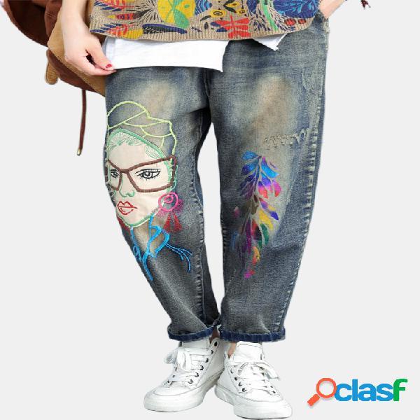 Jeans déchiré à la taille élastique avec bande dessinée pour femmes