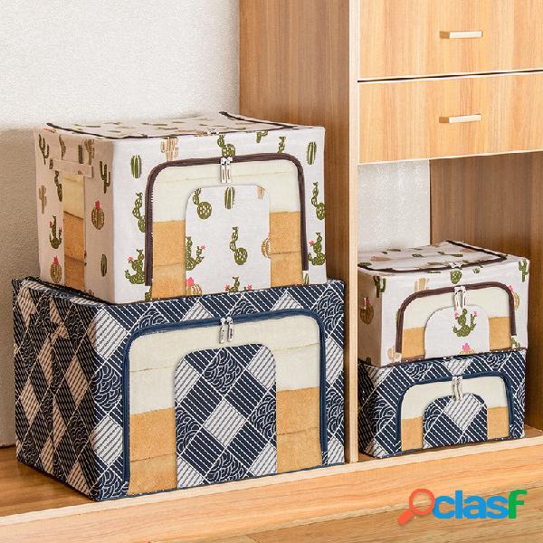 Boîte de rangement en coton et lin boîte de finition à cadre multi-acier en tissu insipide boîte de rangement très grande boîte de rangement boîte de rangement