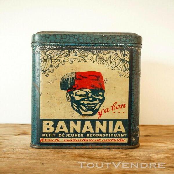 Boîte ancienne en métal de la marque banania pour