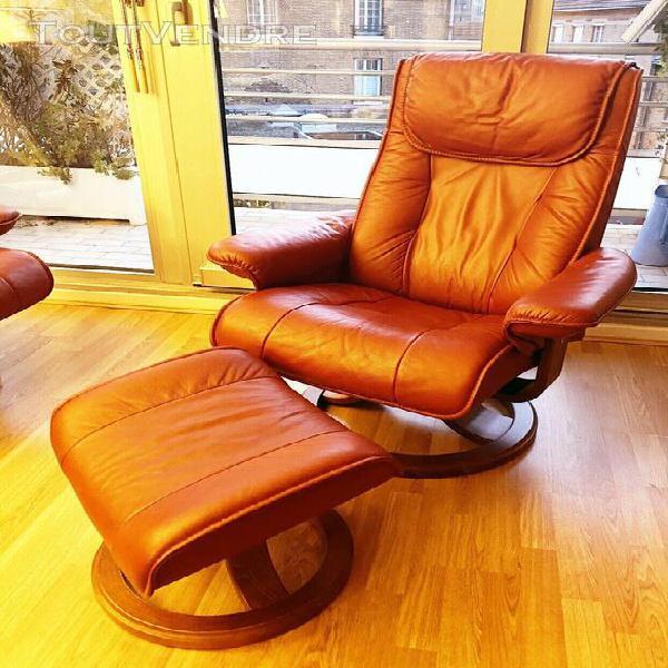 Canapé 2 places et fauteuil avec repose pied serenity en