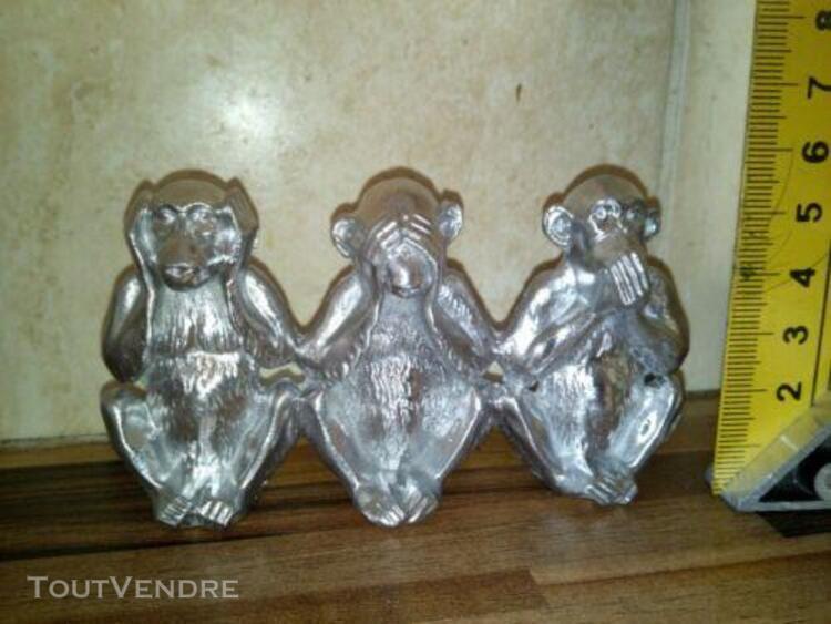 Figurines 3 singes en étain objet de décoration