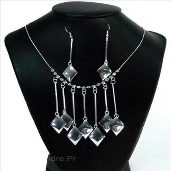 Parure fantaisie femme losange strass cristal diamant-argent