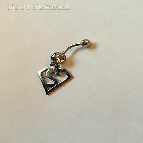 Piercing nombril pendentif acier chirurgical 316l superman s