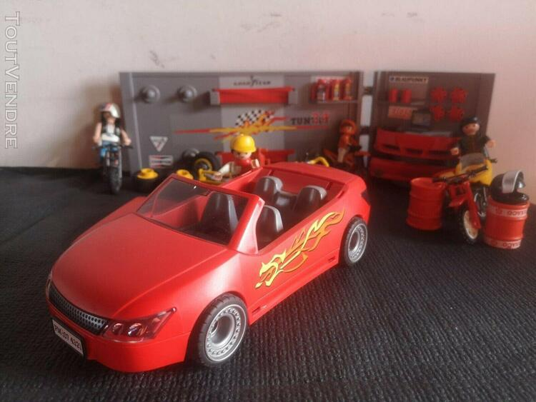 Playmobil lot voiture motos tuning accessoires garage tbe