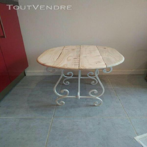 Table basse métal/bois artisanale